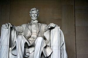 Abraham Lincoln at the memorial